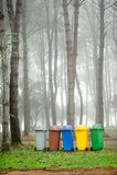 5 colors recycle bins stock photos