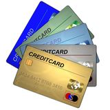 5 creditcards Stock Photography