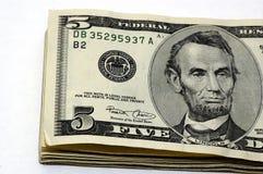 5 cuentas de dólar Foto de archivo libre de regalías