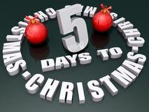 5 días a la Navidad Imagen de archivo libre de regalías