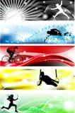 5 de banner van sporten met vijf briljante kleuren Stock Afbeelding