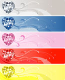 5 Diamond Heart Banners. Vector Illustration of 5 Diamond or Crystal Heart Banners Stock Photo