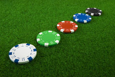 5 diffrent poker chips Stock Images
