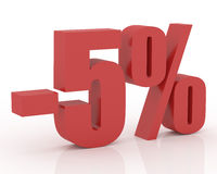5% discount. Red 3D signs showing 5% discount and clearance Stock Photography