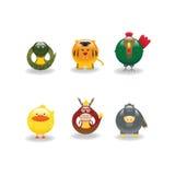 5 djura symboler Royaltyfria Bilder