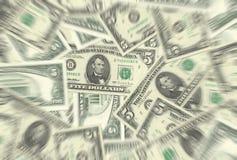 5 Dollar-Anmerkungs-Beschaffenheits-Radialunschärfe Stockfotos