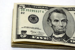 5 Dollar Bills Royalty Free Stock Photo