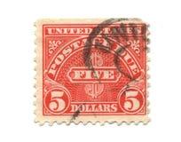 5 dollar gammal portostämpel USA Arkivfoto