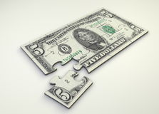 5 Dollar Note Puzzle Stock Images
