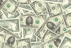 5 Dollar Notes Texture Royalty Free Stock Photography