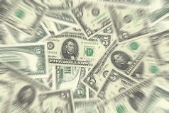 5 Dollar Notes Texture Radial Blur Stock Photos