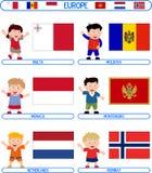 5 dzieci flagi. ilustracja wektor