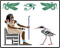 5 egyptiska hieroglyphics royaltyfri illustrationer