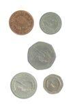 5 englische Münzen Lizenzfreie Stockfotos