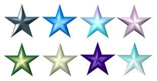 5 estrelas coloridas plásticas da raia ilustração stock
