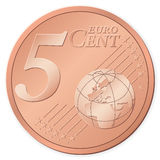 5 euro cent. Isolated on a white background. Vector illustration Stock Photography