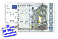 5 Euro Note Puzzle And a Greek Piece Stock Image