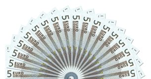 5 Euro Notes Half Circle Template Royalty Free Stock Photos
