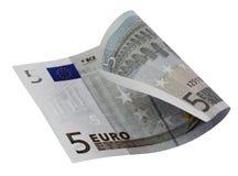 5 euro rekening Royalty-vrije Stock Foto's