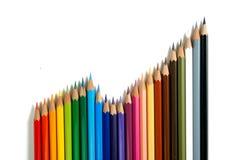 5 färgblyertspennor Royaltyfri Bild