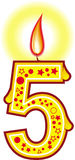 5 födelsedag stearinljus Royaltyfri Fotografi