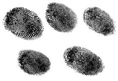 5 fingerprints Stock Photography