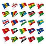 5 flaggor ställde in världen Arkivfoton