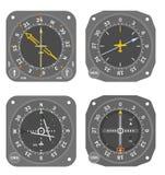 5 flygplaninstrument Arkivbilder