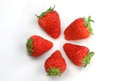 5 fraises Photo libre de droits