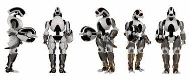 5 futuristic guards poserar stock illustrationer