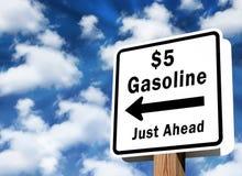 $5 gasprijzen Stock Foto