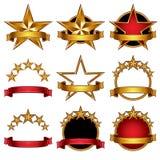 5 geplaatste sterren klassieke emblemen. Stock Foto