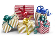 5 Geschenkkästen mit Schatten stockfoto