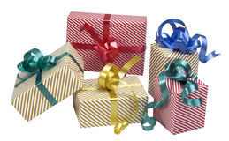5 gift boxes. With clipping path and shadow royalty free stock images