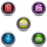 5 glossy media icons Stock Images