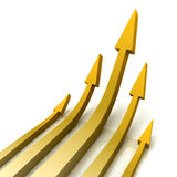 5 Gold Arrows Shows Progress Target Stock Image