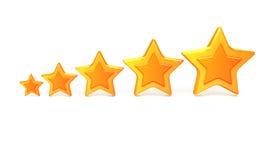5 Goldsterne für Bewertung Lizenzfreie Stockfotos