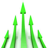 5 Green Arrows Shows Progress Target Royalty Free Stock Images