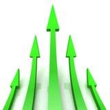 5 Green Arrows Shows Progress Target. 5 Green Arrows Showing Progress Aim Target Royalty Free Stock Images