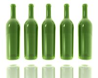 5 green glass bottles Stock Photos