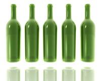5 green glass bottles Stock Photos