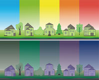 5 green houses. Illustration of green houses on a multi-coloured background vector illustration