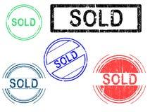 5 grunge sprzedających znaczków Zdjęcia Stock