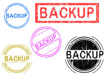 5 Grunge Stamps - Backup. 5 Grunge effect Office Stamp with the word BACKUP in a grunge splattered text. (Letters have been uniquely designed and created by hand Stock Images