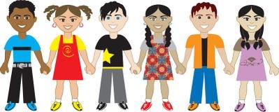 5 händer som rymmer ungar royaltyfri illustrationer