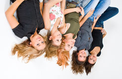 5 happy girls upside down Stock Images