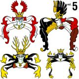 5 hjälmar heraldisk vol Royaltyfria Foton
