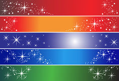 5 holiday banners. Set of 5 different holiday banners, useful also as greeting card. Eps file available Stock Photos