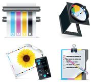 5 ikon część druku setu sklepu wektor Obraz Royalty Free