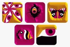 5 ikon zestaw logo Royalty Ilustracja